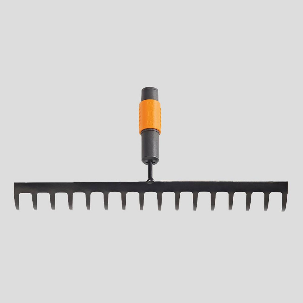 Image of Fiskars 14 Prong QuikFit Soil Rake Orange
