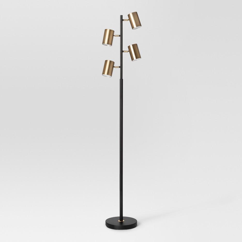 Image of Dean Spotlight Floor Lamp (Includes Energy Efficient Light Bulb) Black/Brass - Project 62