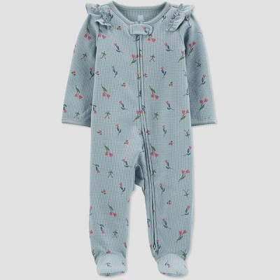 Baby Girls' Floral Footed Pajama - Just One You® made by carter's Blue 9M