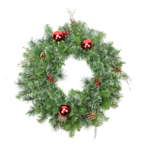 """Northlight 24"""" Unlit Green/Red Mixed Pine Artificial Christmas Wreath - image 1 of 1"""