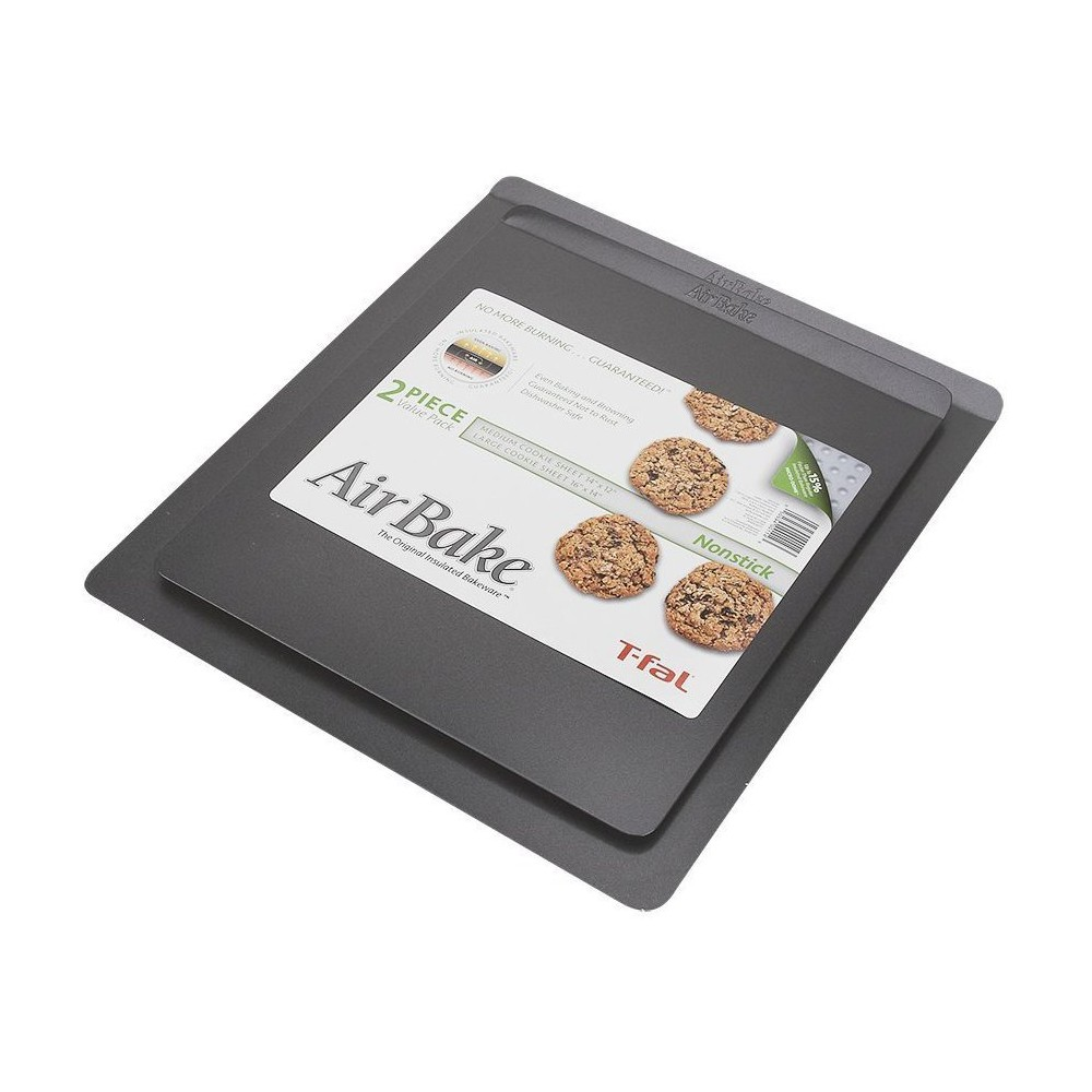 AirBake 14x12 in and 16x14 in Nonstick 2-Pack Cookie Sheet Set, Medium Silver