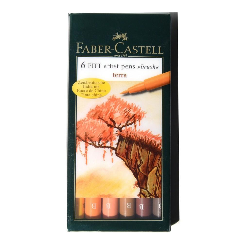 Image of Pitt Artist Brush Pen Set 6ct Faber-Castell -Terra