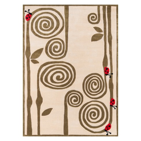 Lil Mo Whimsy Curly Fern Ladybug Tufted Accent Rug - Momeni - image 1 of 4