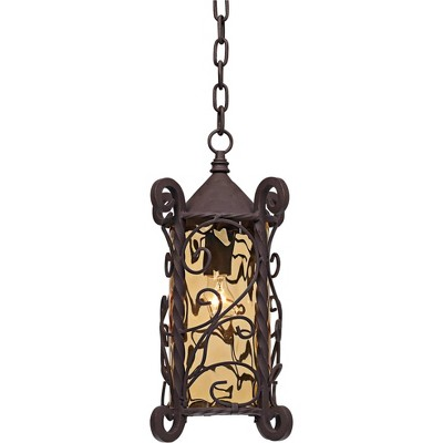 """John Timberland Traditional Outdoor Light Hanging Dark Walnut Iron Scroll 15"""" Champagne Water Glass Damp Rated for Exterior Porch"""