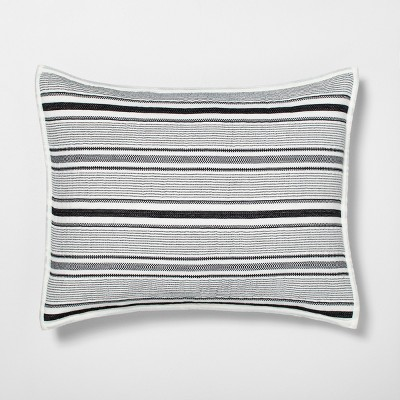 Standard Pillow Sham Textured Stripe Railroad Gray - Hearth & Hand™ with Magnolia