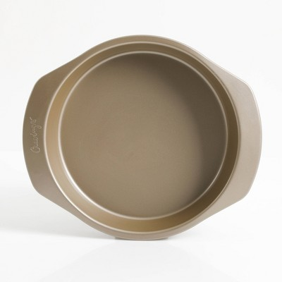 """Cravings by Chrissy Teigen 9"""" Round Aluminum Cake Pan - Gold"""