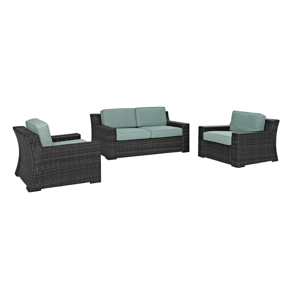 Beaufort 3pc All-Weather Wicker Seating Set - Mist (Blue) - Crosley