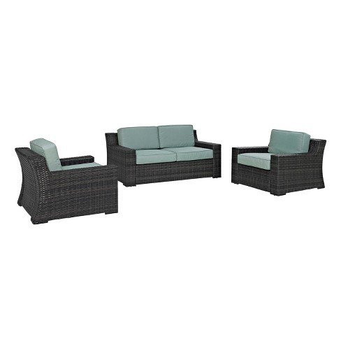 Beaufort 3pc All-Weather Wicker Seating Set - Mist - Crosley - image 1 of 5