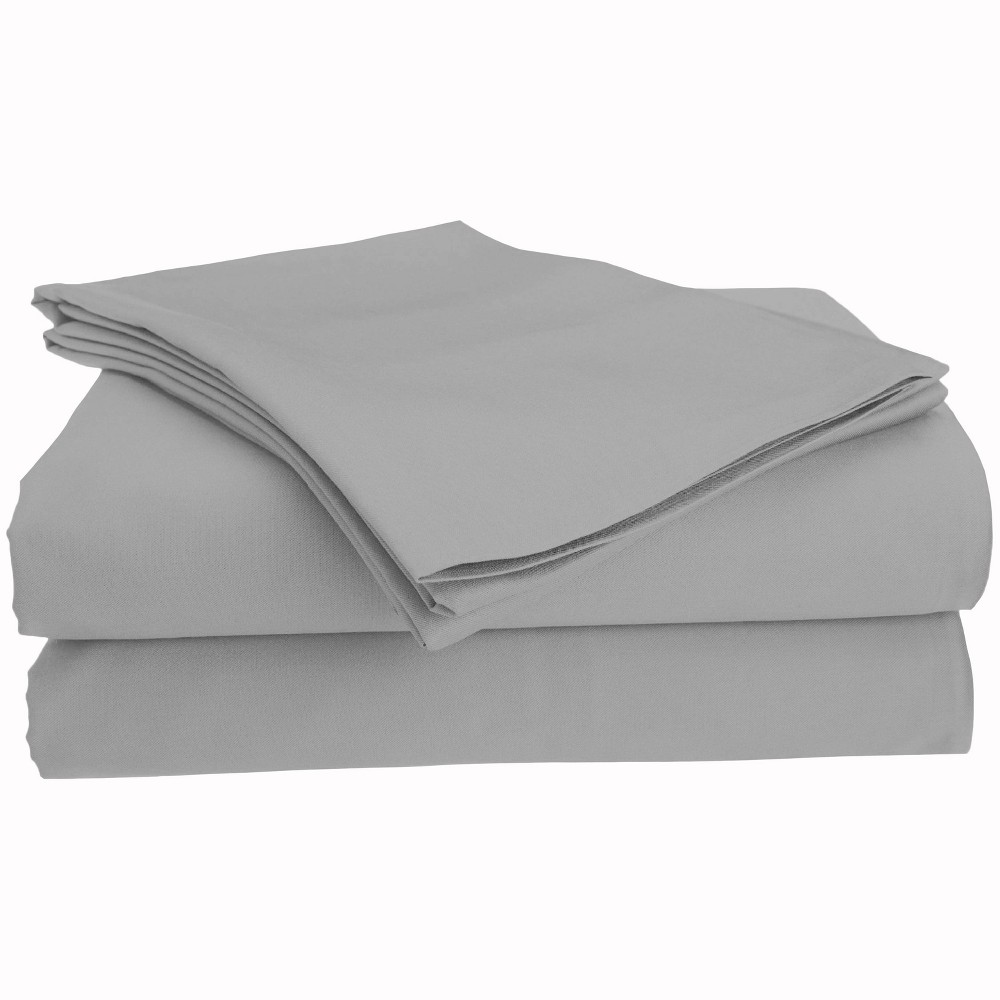 Image of Full Brushed Cotton Solid Sheet Set Light Gray - Posh Home