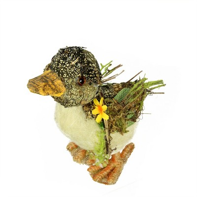 """Northlight 8"""" Brown, Ivory  and Orange Standing Duck Spring Table Top Decoration"""