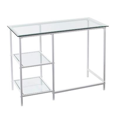 Dumas Metal/Glass Student Desk White - Aiden Lane