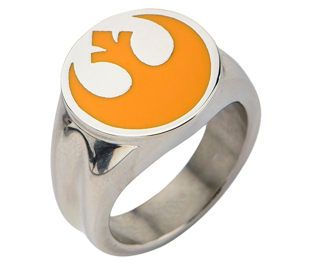 Image of Men's Star Wars Stainless Rebel Alliance Symbol Ring, Size: 12, Silver