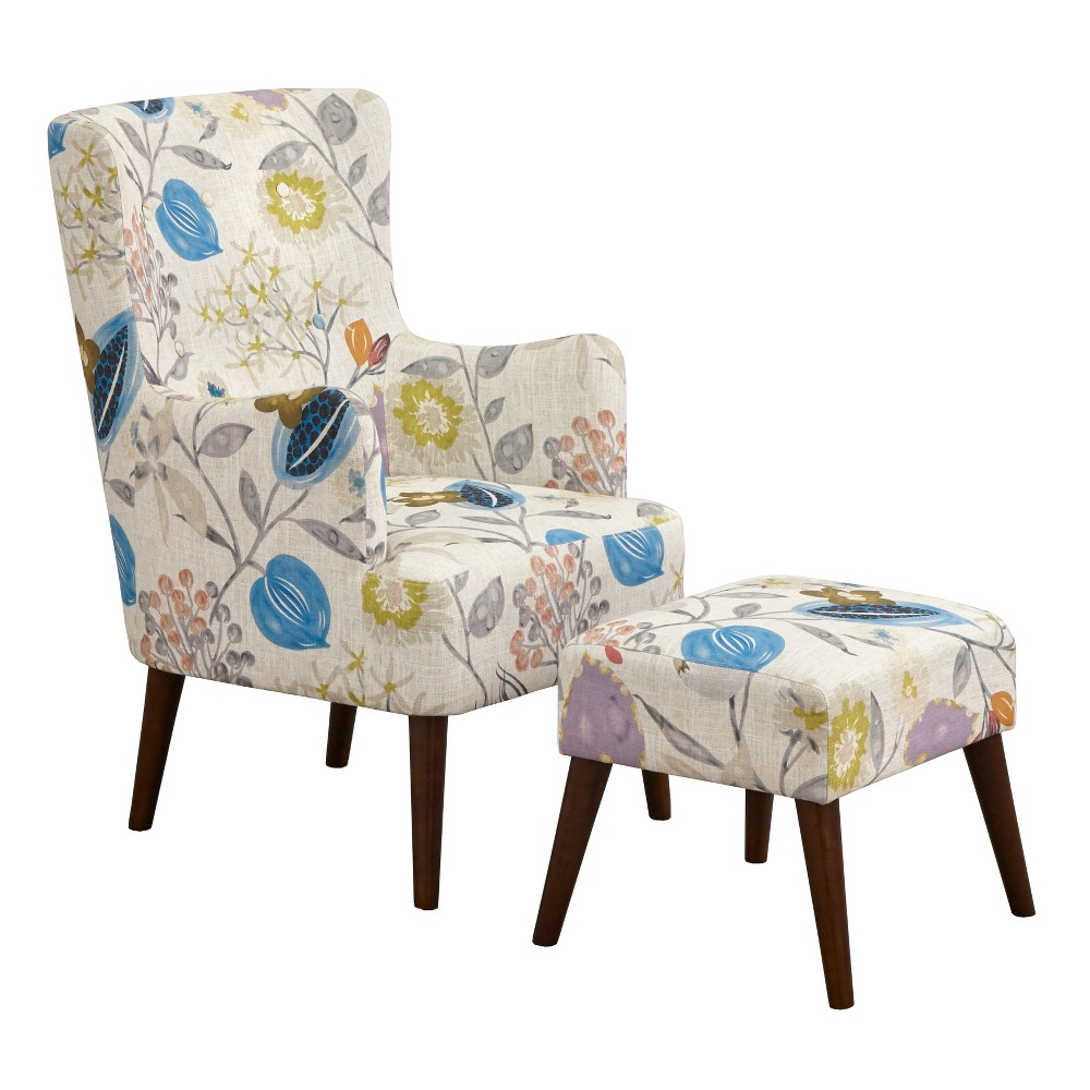 Image of Jane Chair and Ottoman Floral Pop - angelo:Home