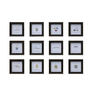 Set of 12 Sayings Square Wood Framed Wall Art - Creative Co-Op