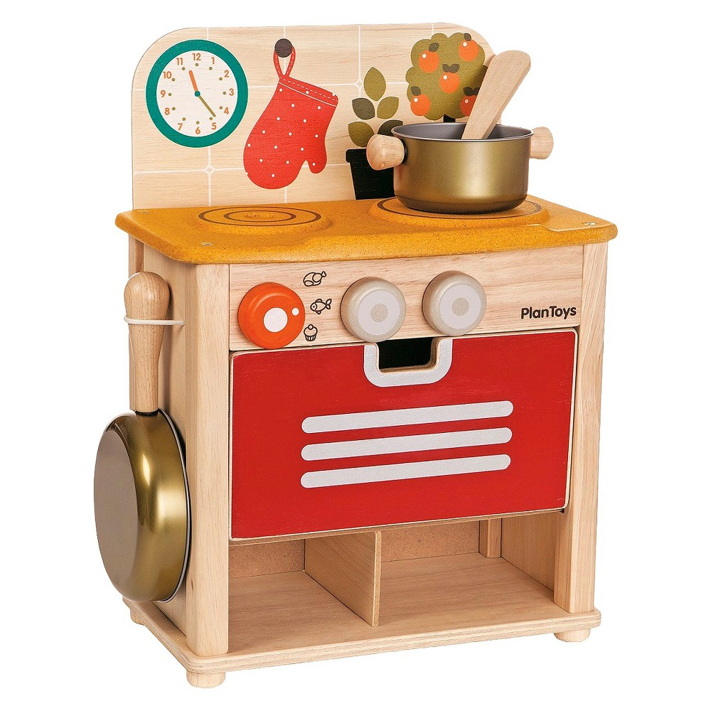 PlanToys Kitchen Set, Cooking and Dining Toys The PlanToys Kitchen Set is the perfect size for your little toddler. This kids kitchen has an oven with turn knobs, a frying pan, a pot and a spatula. With a portable design, it can be used on the floor, a table or even a shelf. Your kids will love making food and playing the chef with this play kitchen. For ages 2 and up. Gender: Female.