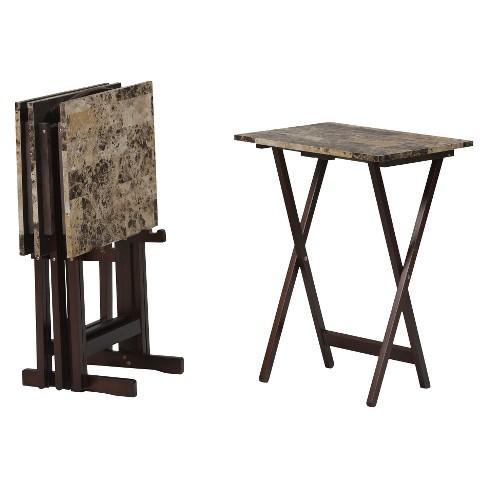 4 Piece Faux Marble Tables with Stand - Linon® - image 1 of 3