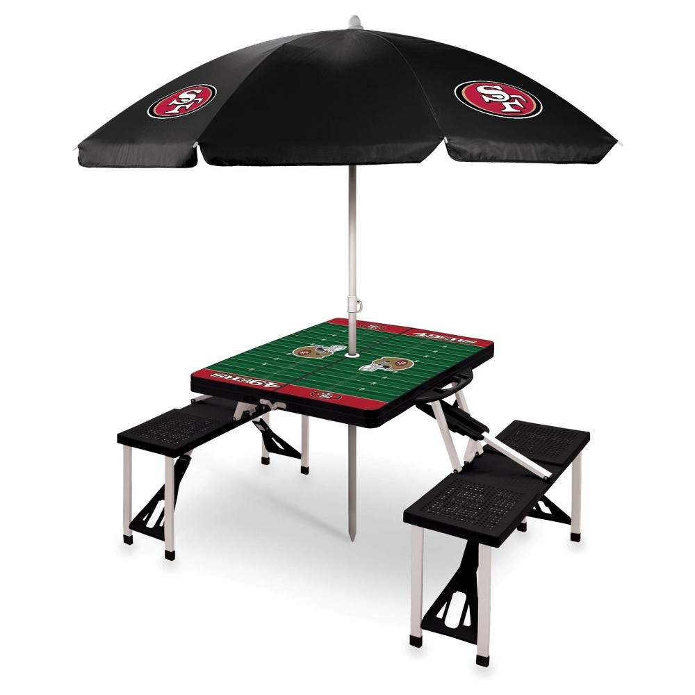 San Francisco 49ers Picnic Table Sport with Umbrella by Picnic Time - Black