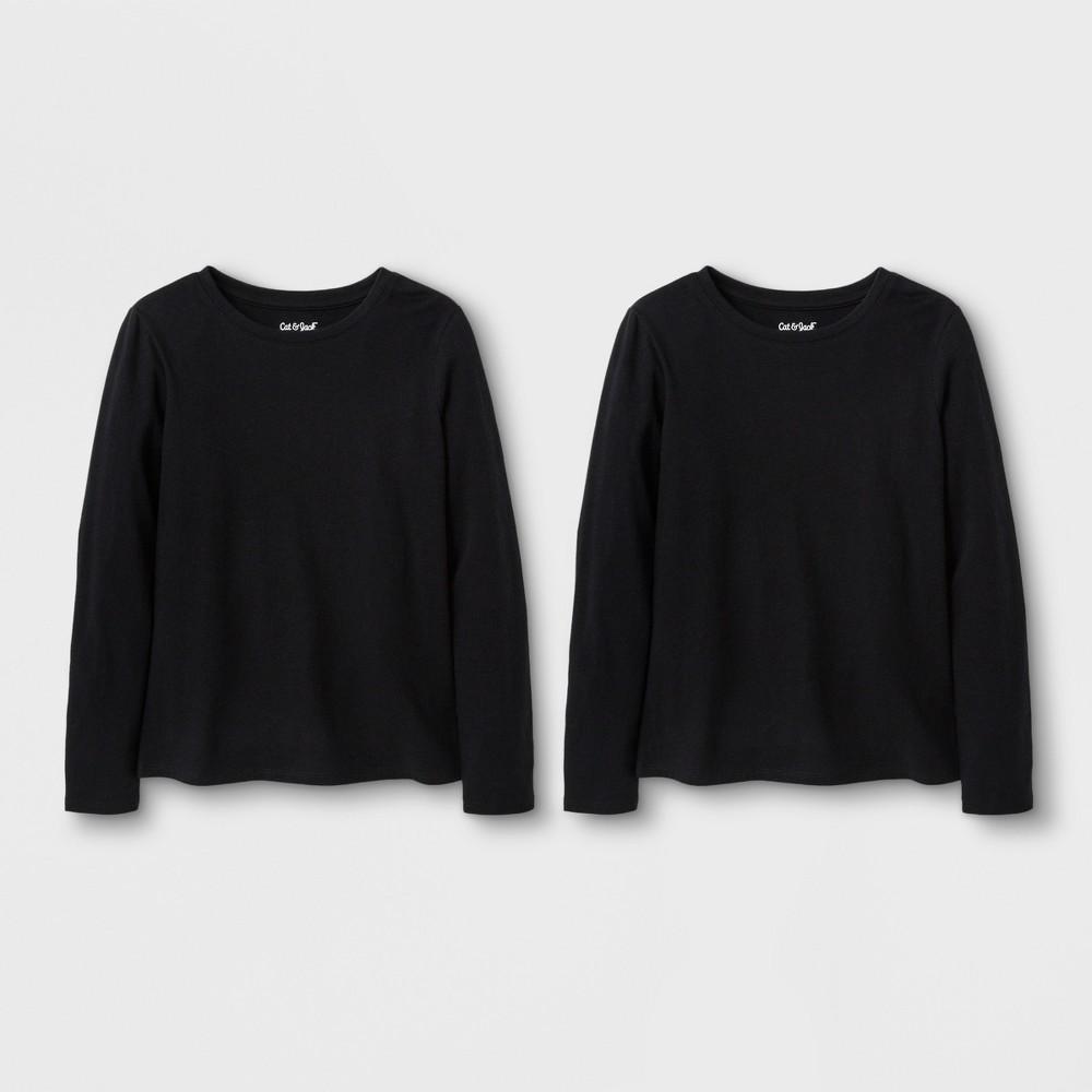 Girls' 2pk Solid Long Sleeve T-Shirt - Cat & Jack Black/Black S