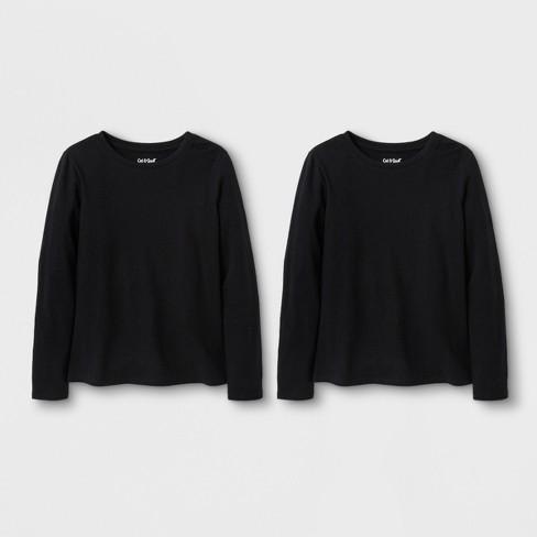 Girls  2pk Solid Long Sleeve T-Shirt - Cat   Jack™ Black Black   Target b2014a52815