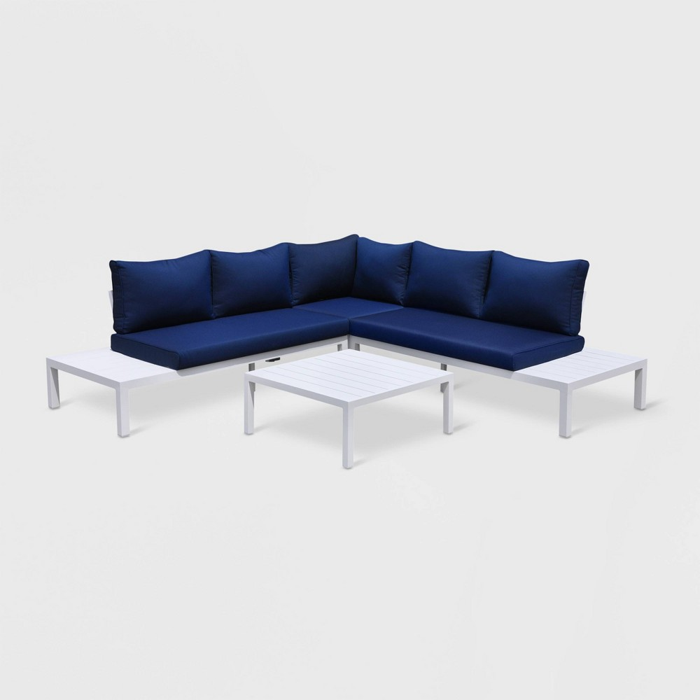 Osborne 4pc Aluminum Outdoor Sectional with Cushions White/Blue - Courtyard Casual