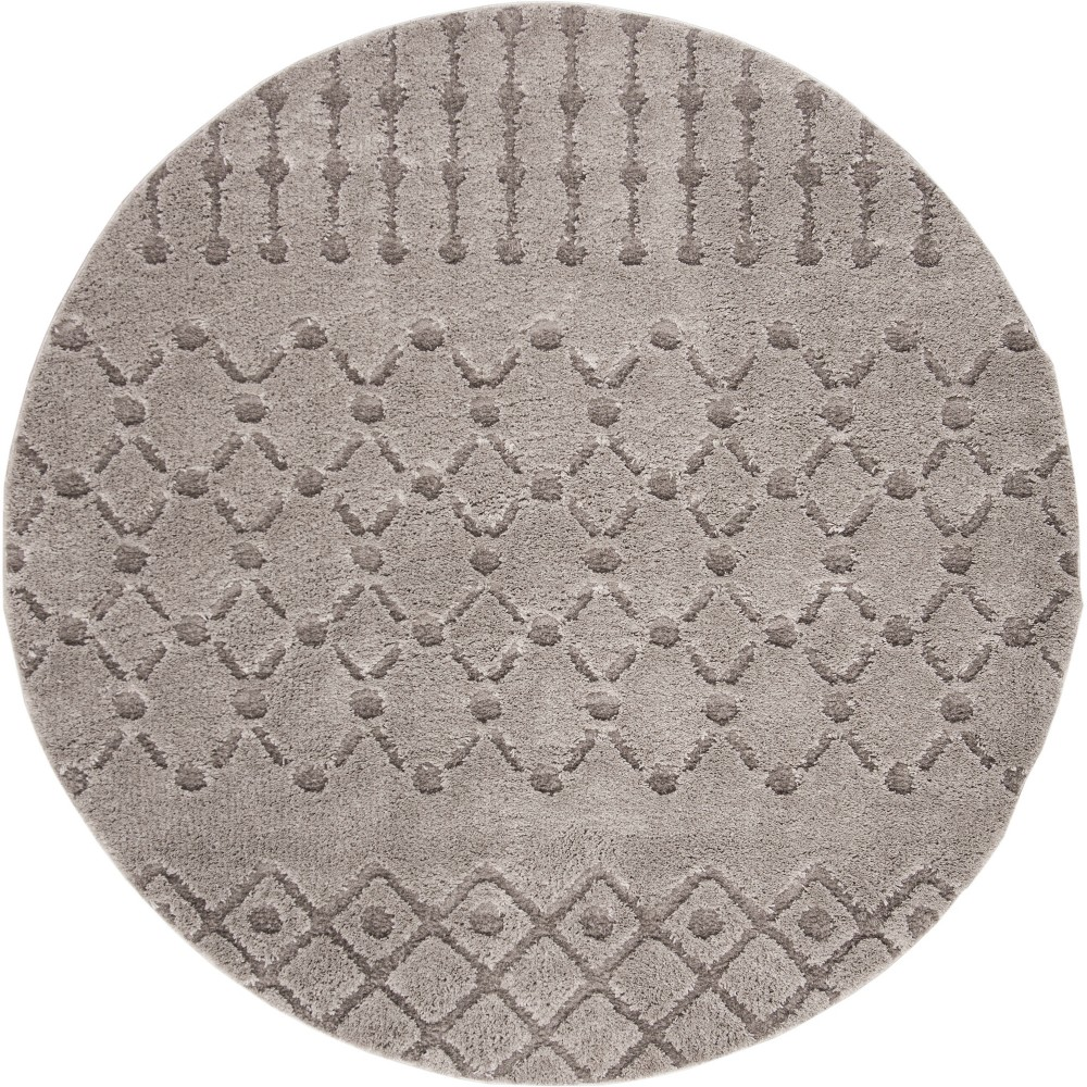 67 Geometric Design Loomed Round Area Rug Gray - Safavieh Price