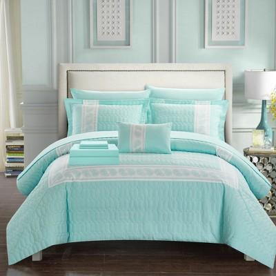 Chic Home Borrego Hexagon Embosse Decorative Comforter Sheet Pillow & Shams Set - Aqua