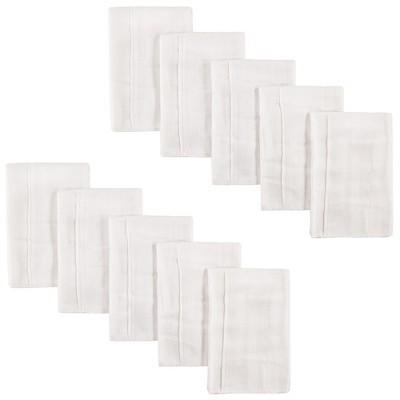 Luvable Friends Baby Unisex Prefold Birdseye Cloth Diapers, White, Prefold 14X20