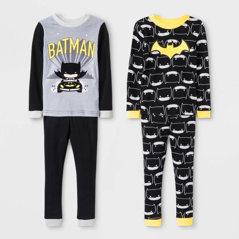 Image of Baby Boys' 4pc Batman Long Sleeve Pajama Set - Black 12M, Boy's