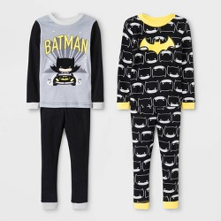 Toddler Boys' 4pc Batman Long Sleeve Pajama Set - Black