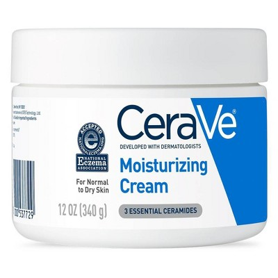 CeraVe Moisturizing Cream + Body and Face Moisturizer for Dry Skin with Hyaluronic Acid and Ceramides - 12 fl oz