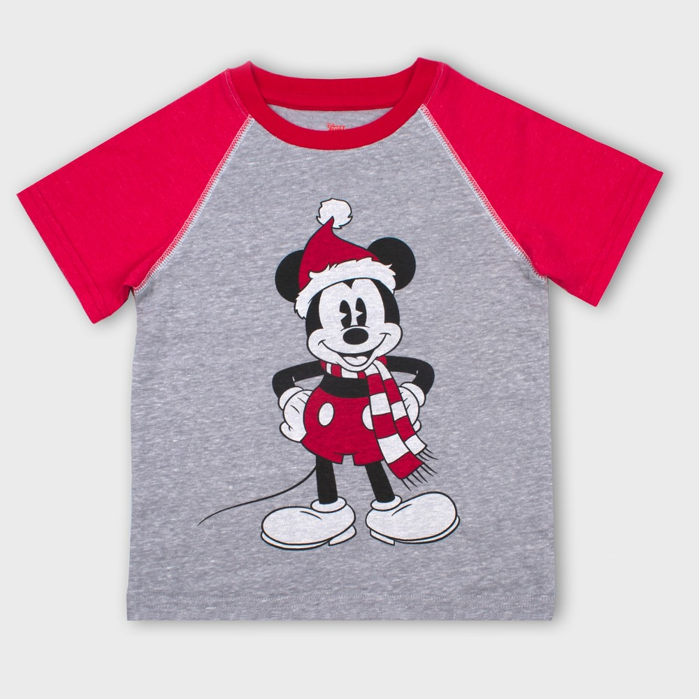 Toddler Boys' Disney Mickey Mouse & Friends Mickey Mouse Short Sleeve T-Shirt - Gray/Red 12M
