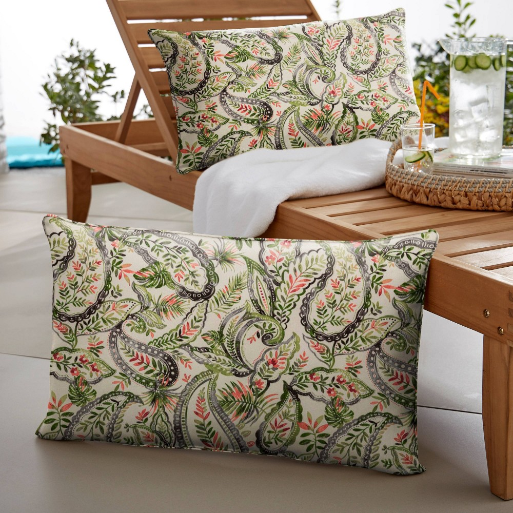 "Image of ""14"""" 2pk Paisley Corded Outdoor Throw Pillows Green/Blue"""