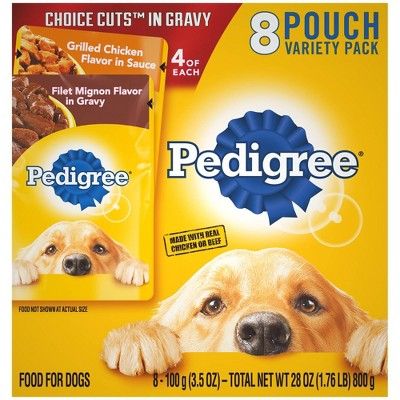 Pedigree Pouch Choice Cuts In Gravy Wet Dog Food Grilled Chiken & Filet Mignon - 3.5oz/8ct Variety Pack