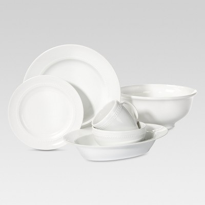 Round Beaded White Porcelain Dinnerware Collection - Threshold™