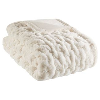 "50""x60"" Ruched Faux Fur Throw Blanket Ivory"