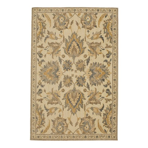 Gold Floral Woven Area Rug 83\
