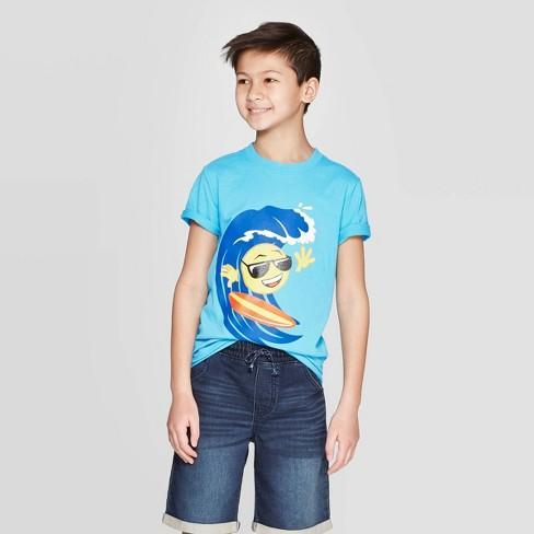 Boys' Short Sleeve Graphic T-Shirt - Cat & Jack™ Blue - image 1 of 3