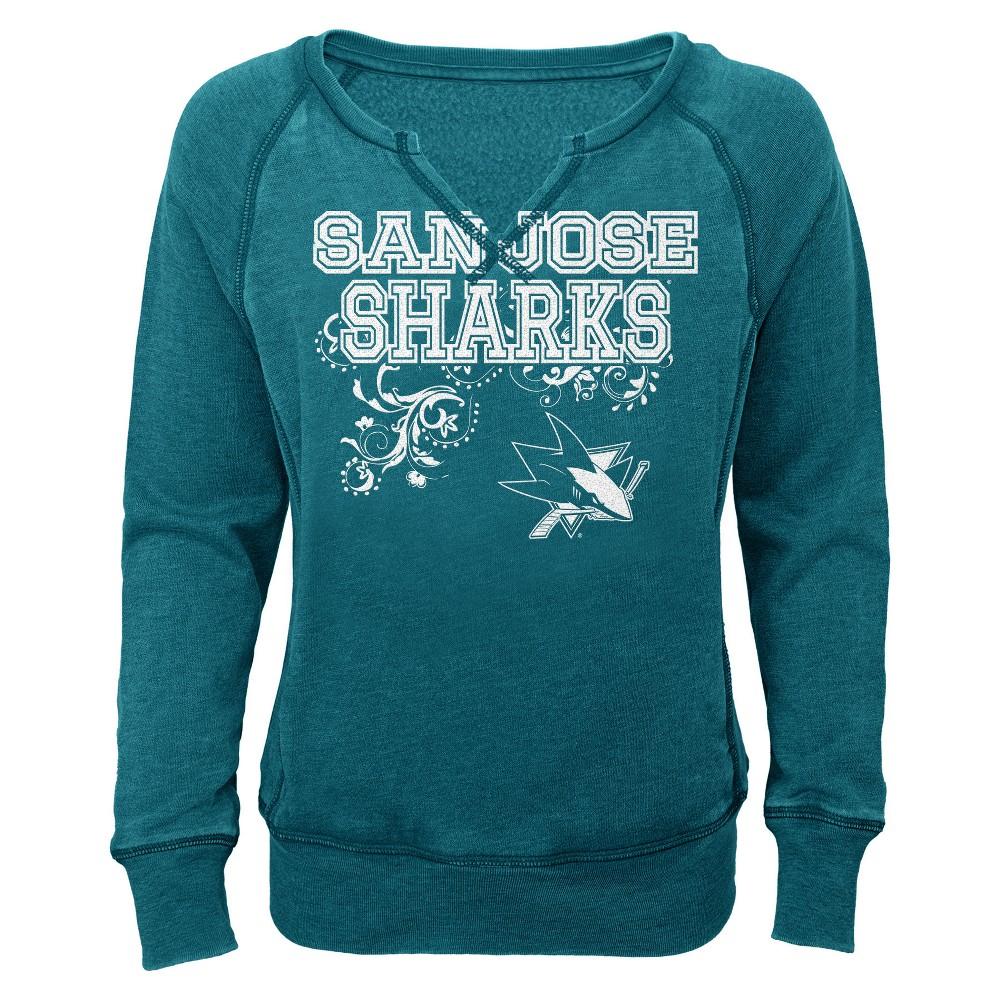 San Jose Sharks Girls' Open Neck Fleece Sweatshirt XS