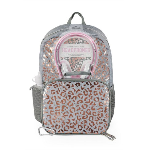 """L2D 16"""" Backpack with Lunch Bag and Headphones - Cheetah on Sequin Overlay - image 1 of 4"""