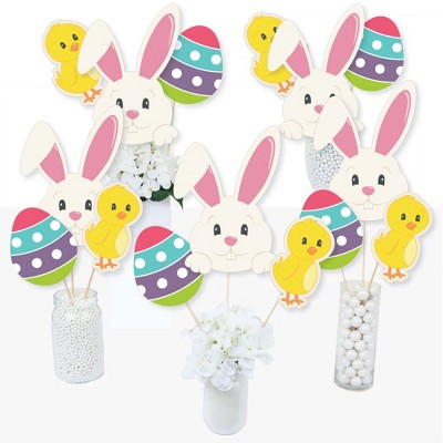 Big Dot of Happiness Hippity Hoppity - Easter Bunny Party Centerpiece Sticks - Table Toppers - Set of 15