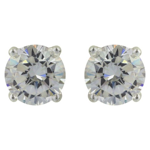 Sterling Silver Round Button Stud Earring - Silver - image 1 of 1