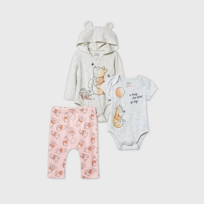Baby Girls' 3pk Winnie The Pooh Long Sleeve Bodysuit - Gray Newborn
