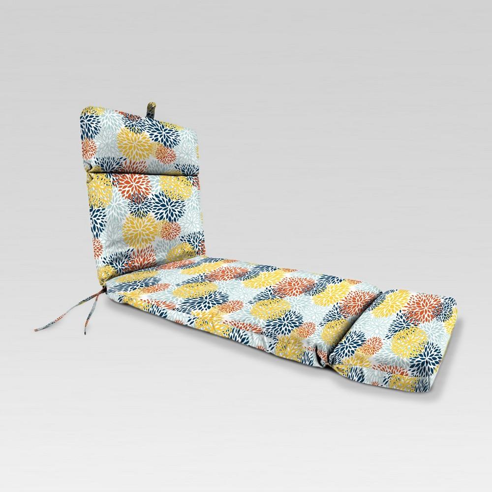 Outdoor French Edge Chaise Lounge Cushion - Blue/Yellow Burst - Jordan Manufacturing