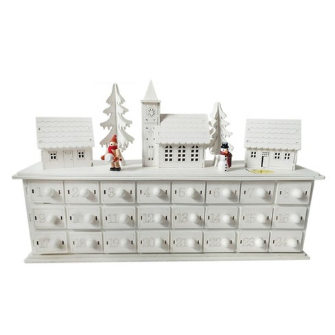 Wooden Advent Calendar With Figurines White Wondershop