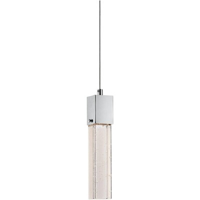 "Possini Euro Design Chrome Mini Pendant Light 2 1/2"" Wide Modern Clear Bubble Glass LED Fixture for Kitchen Island Dining Room"