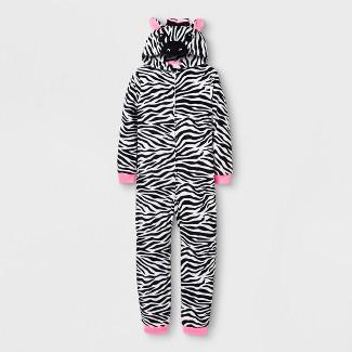 Girls' Zebra Graphic Blanket Sleeper Hooded - Cat & Jack™ White/Black L