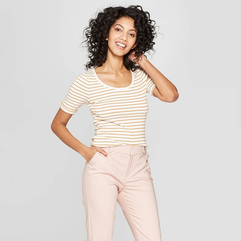 Women's Striped Regular Fit Scoop Neck T-Shirt - A New Day Cream/Rust (Ivory/Red) L