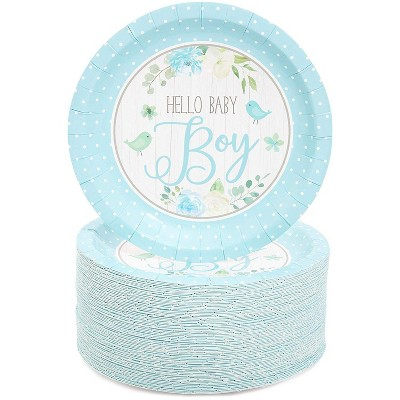 """Blue Panda 80Pcs Hello Baby Boy Disposable Paper Plates 7"""" for Baby Shower Cake Dessert, Party Supplies"""