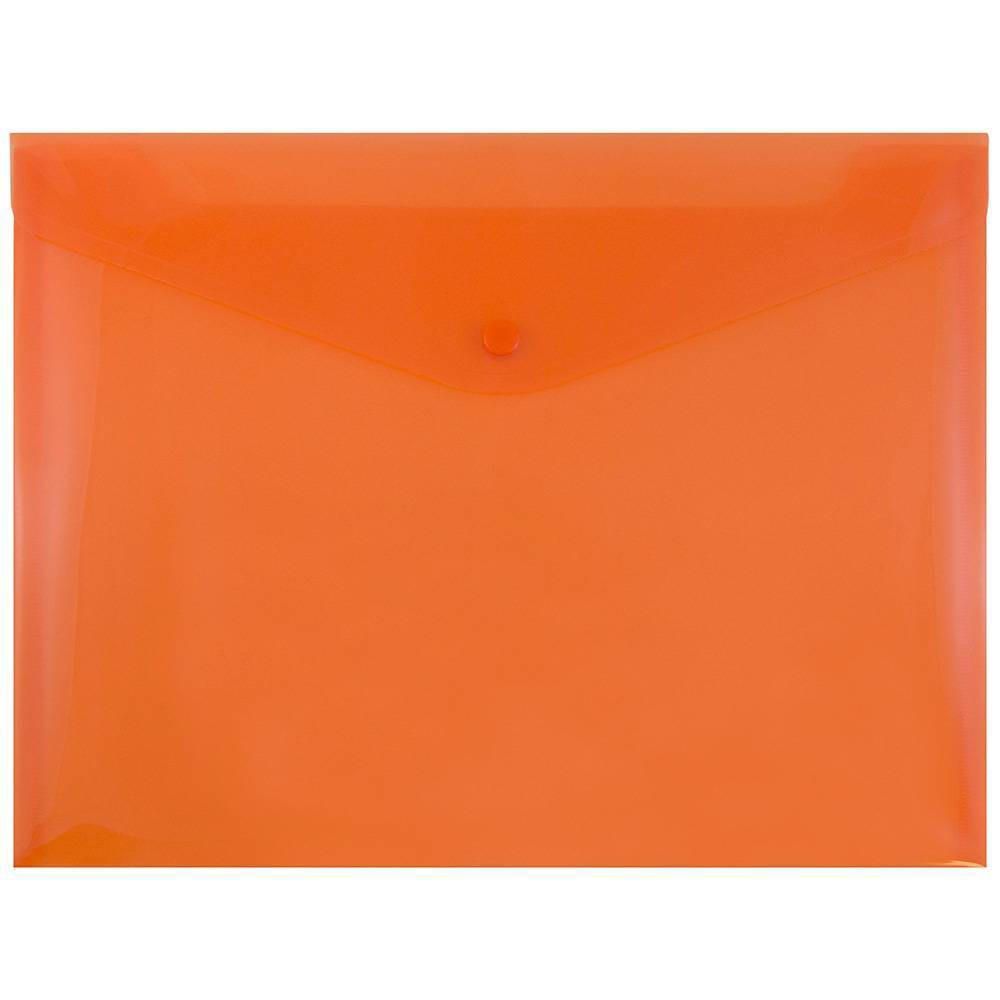 Jam Paper 9 3/4'' x 13'' 12pk Plastic Envelopes with Snap Closure, Letter Booklet - Orange
