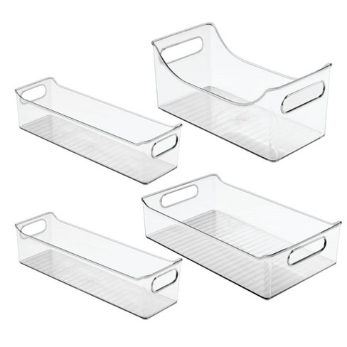 Mdesign Plastic Food Storage Bins For Kitchen Cabinet Pantry Set Of 4 Clear Target